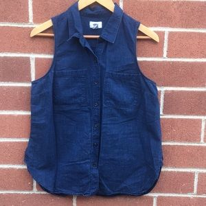 Old Navy Denim Chambray Collared Button Up Tank